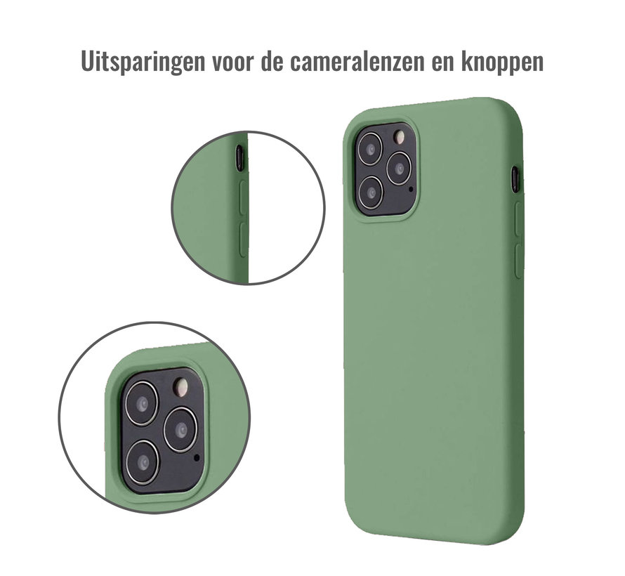 iPhone 12 Pro Max Case Hoesje Siliconen Back Cover - Apple iPhone 12 Pro Max - Saliegroen