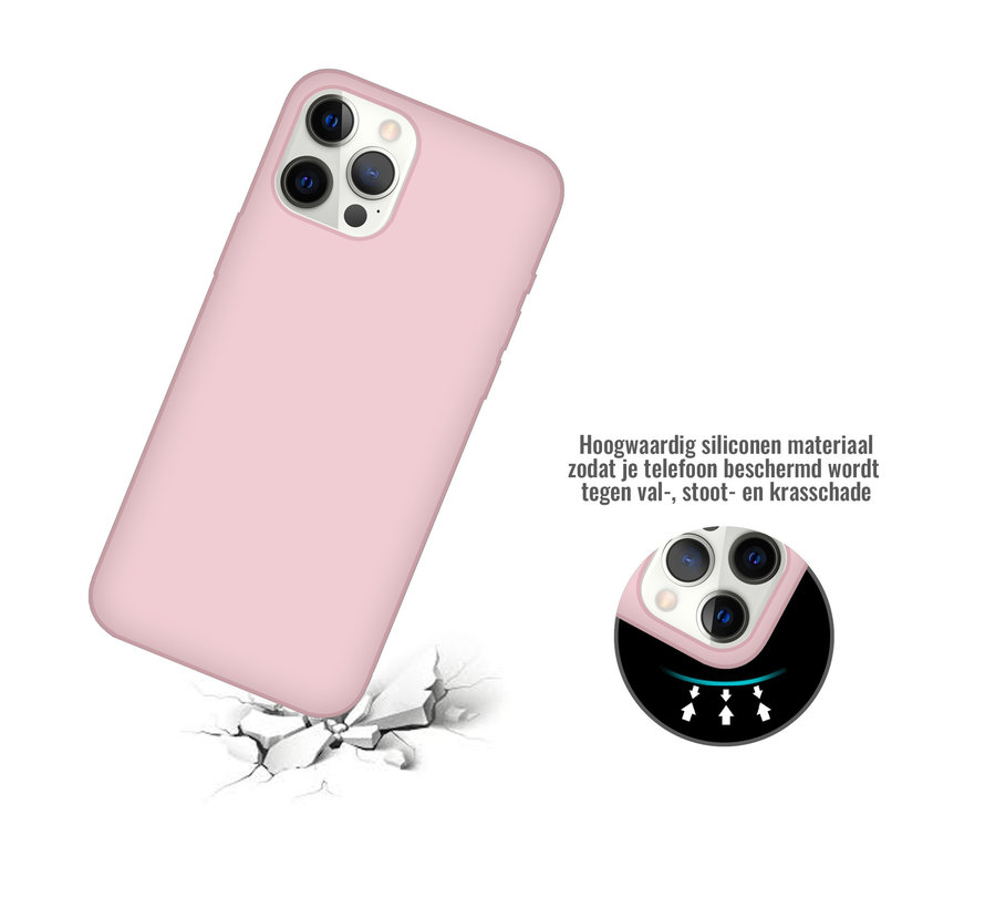 iPhone 12 Pro Max Case Hoesje Siliconen Back Cover - Apple iPhone 12 Pro Max - Oudroze