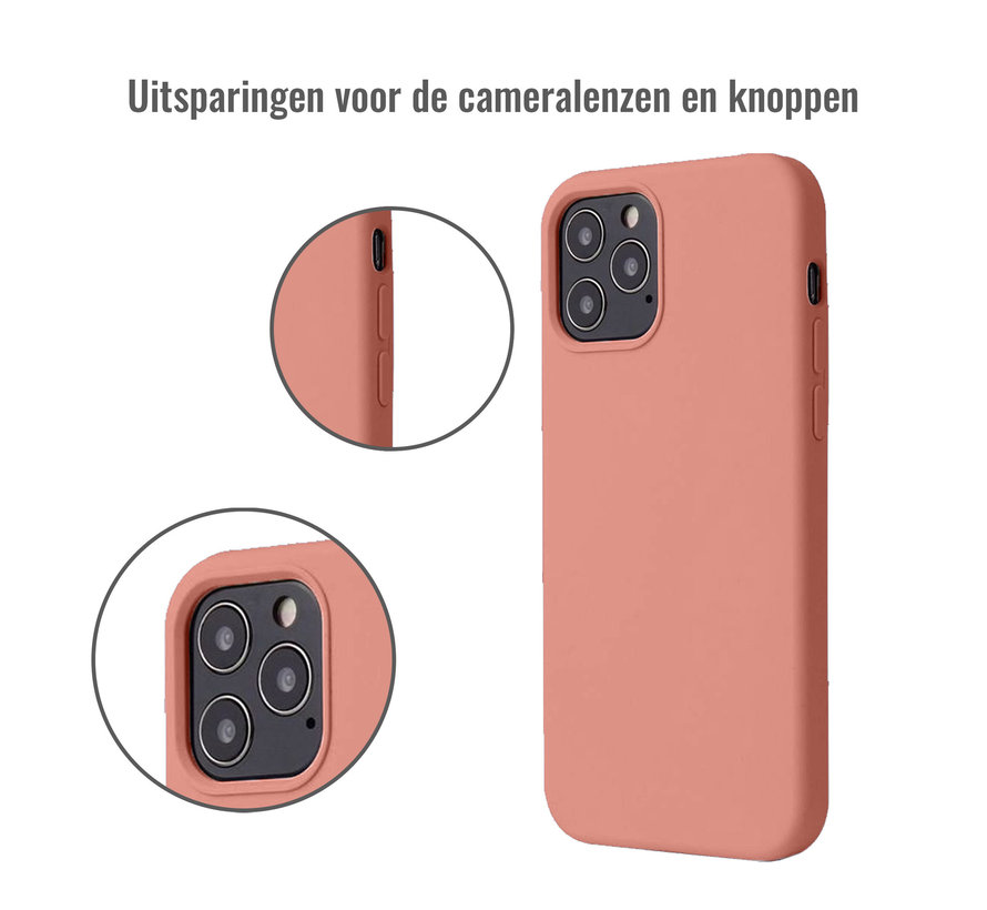 iPhone 12 Pro Max Back Cover Hoesje - Siliconen - Case - Backcover - Apple iPhone 12 Pro Max - Zalmroze