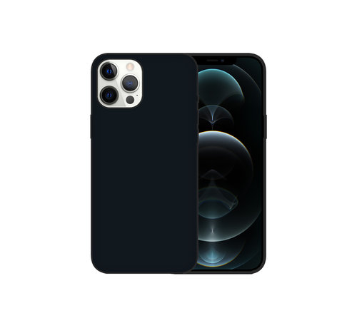 JVS Products iPhone 12 Pro Max Case Hoesje Siliconen Back Cover - Apple iPhone 12 Pro Max - Zwart