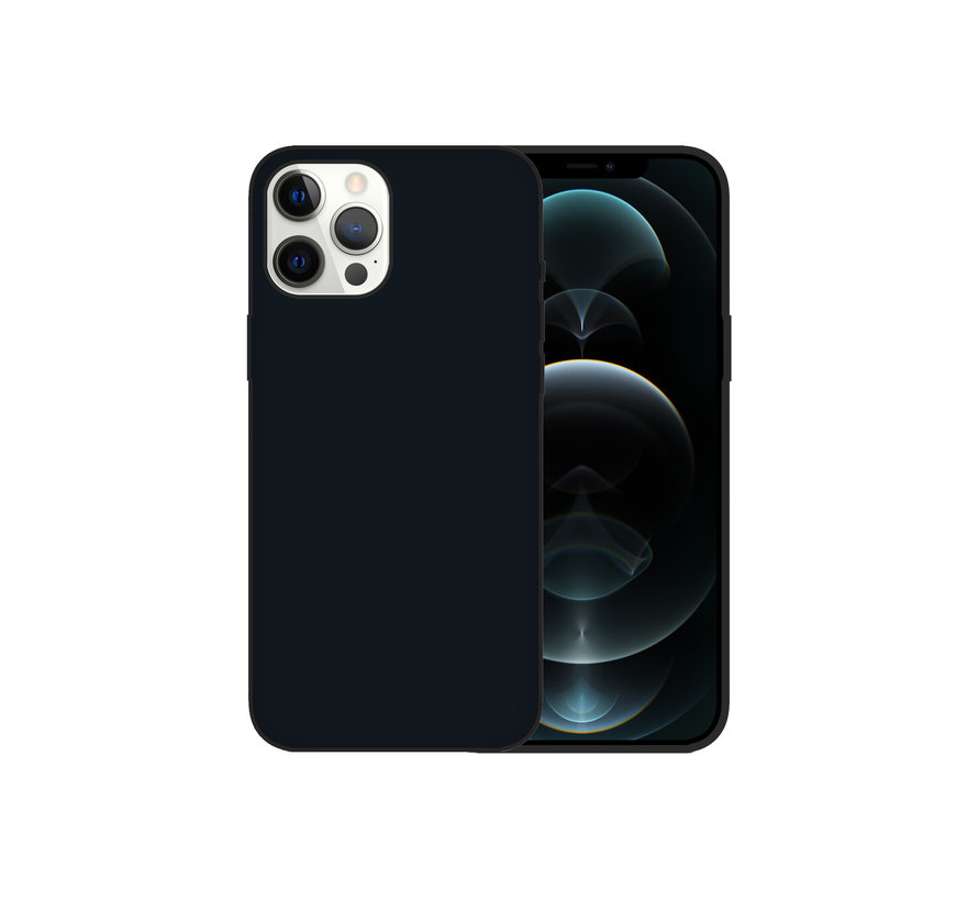 iPhone 12 Pro Max Case Hoesje Siliconen Back Cover - Apple iPhone 12 Pro Max - Zwart