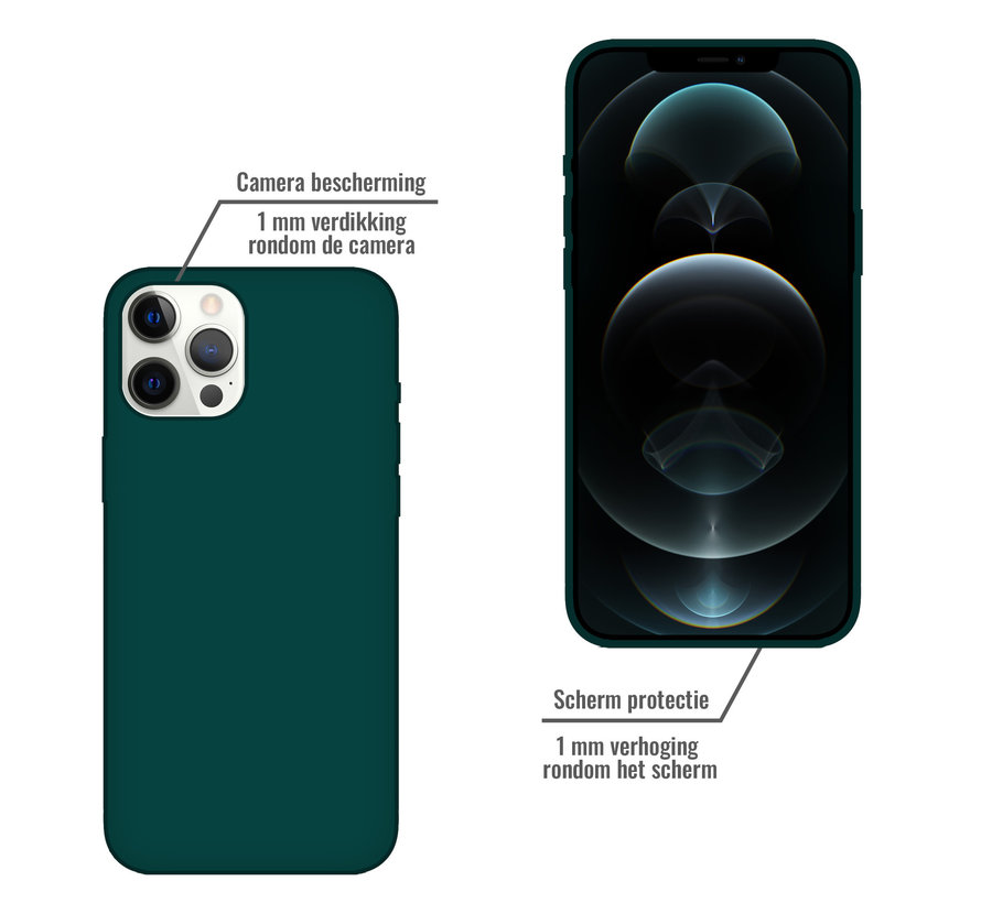 iPhone SE 2020 Back Cover Hoesje - Siliconen - Case - Backcover - Apple iPhone SE 2020 - Donkergroen