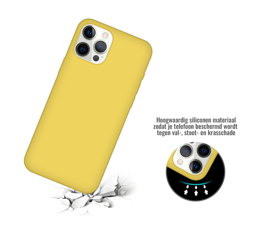 iPhone 12 Mini Case Hoesje Siliconen Back Cover - Apple iPhone 12 Mini - Geel