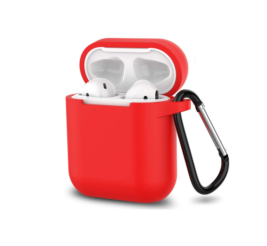 Apple Airpods 1 en 2 ultra dunne siliconen cover - extra dunne Apple Airpods siliconen cover met sleutelhanger - Rood