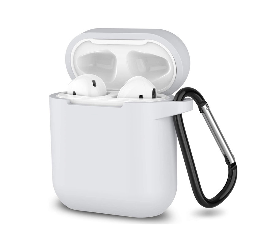 Apple Airpods 1 en 2 ultra dunne siliconen cover - extra dunne Apple Airpods siliconen cover met sleutelhanger - Wit
