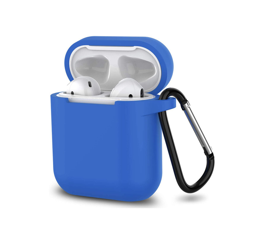 Apple Airpods 1 en 2 ultra dunne siliconen cover - extra dunne Apple Airpods siliconen cover met sleutelhanger - Donkerblauw