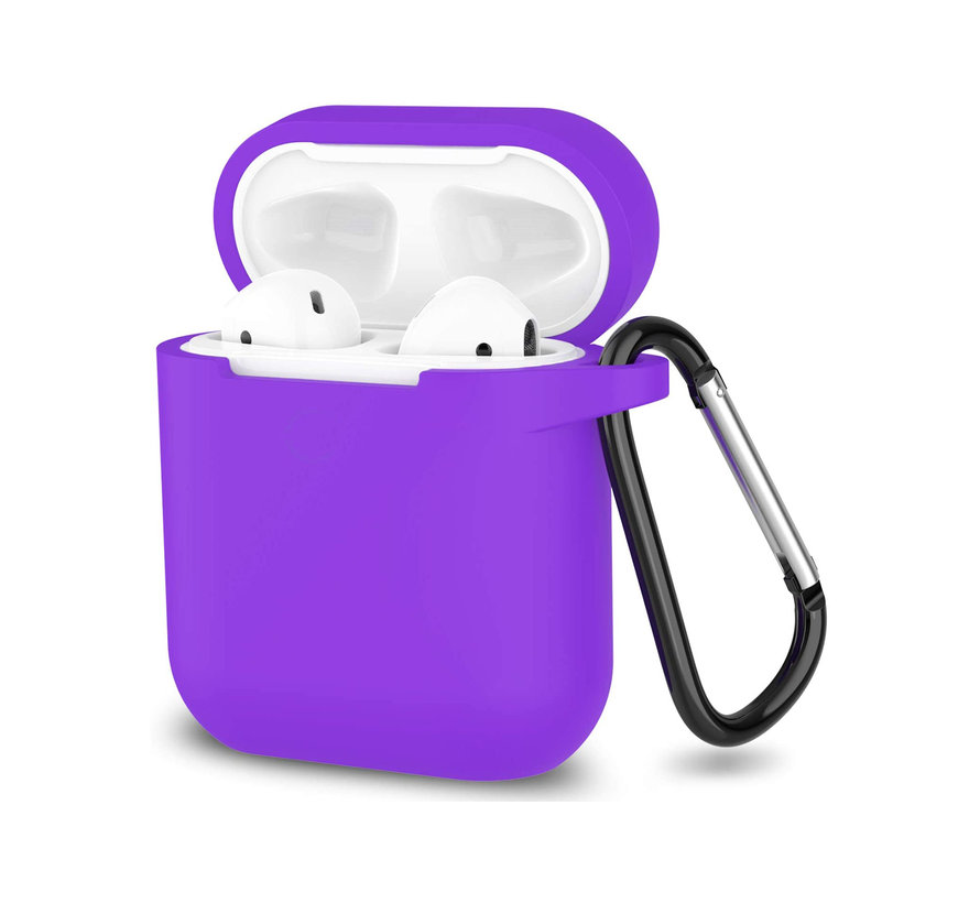 Apple Airpods 1 en 2 ultra dunne siliconen cover - extra dunne Apple Airpods siliconen cover met sleutelhanger - Paars