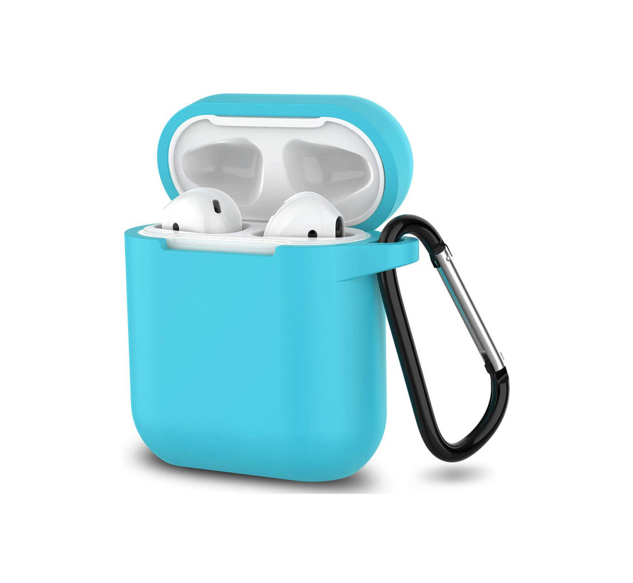 Apple Airpods 1 en 2 ultra dunne siliconen cover - extra dunne Apple Airpods siliconen cover met sleutelhanger - Lichtblauw