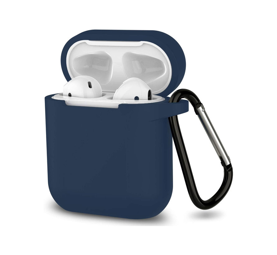 Apple Airpods 1 en 2 ultra dunne siliconen cover - extra dunne Apple Airpods siliconen cover met sleutelhanger - Midnight Blue