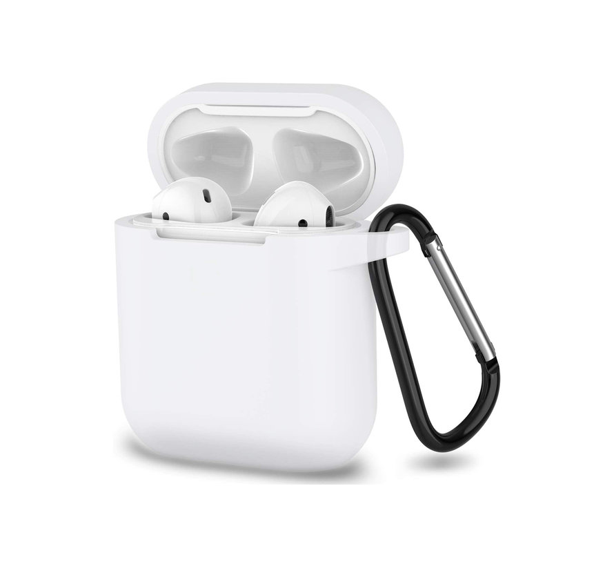 Apple Airpods 1 en 2 ultra dunne siliconen cover - extra dunne Apple Airpods siliconen cover met sleutelhanger - Transparant