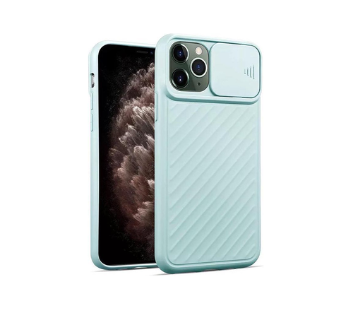JVS Products iPhone XS Max Hoesje met Camera Bescherming - Apple iPhone XS Max Back Cover Case Camera Slide - Lichtblauw