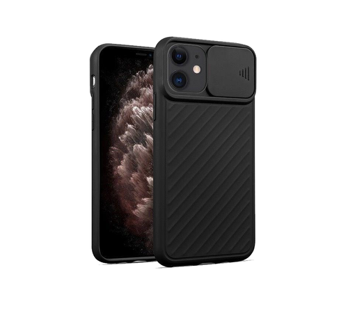 JVS Products iPhone XS Max Hoesje met Camera Bescherming - Apple iPhone XS Max Back Cover Case Camera Slide - Zwart