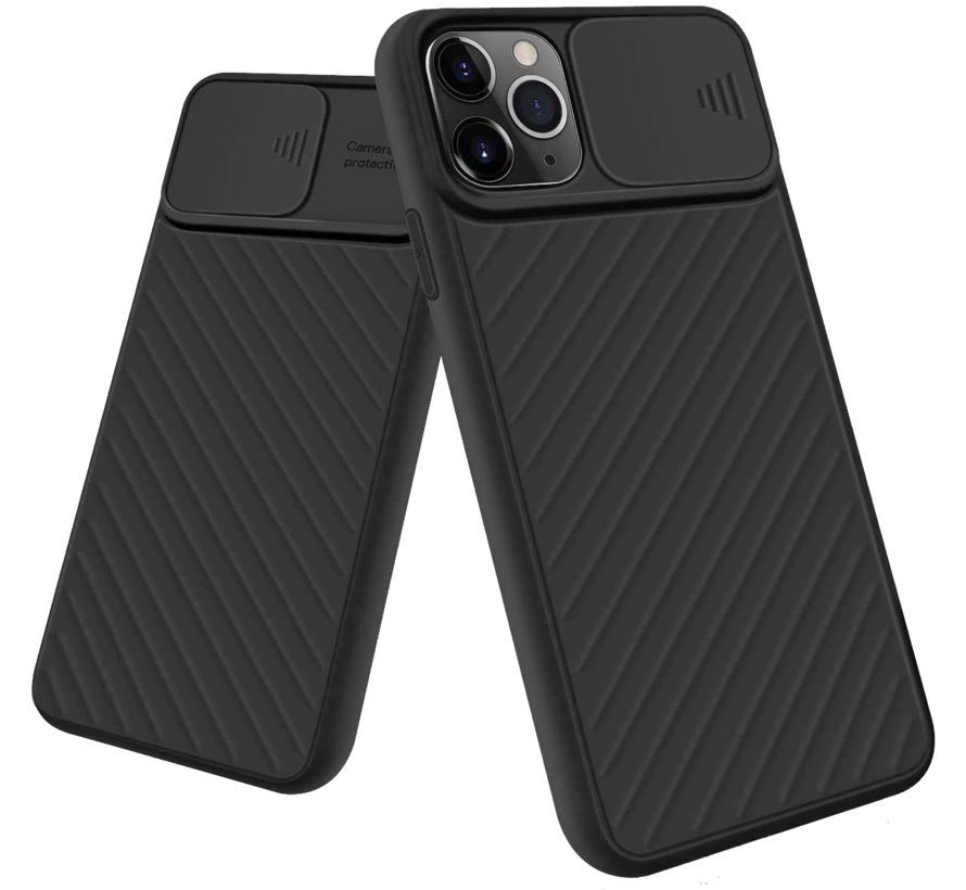 iPhone XS Max Hoesje met Camera Bescherming - Apple iPhone XS Max Back Cover Case Camera Slide - Zwart
