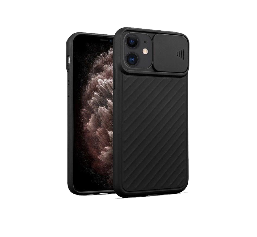 iPhone 11 Pro Hoesje met Camera Bescherming - Apple iPhone 11 Pro Back Cover Case Camera Slide - Zwart