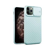 JVS Products iPhone 12 Pro Max Hoesje met Camera Bescherming - Apple iPhone 12 Pro Max Back Cover Case Camera Slide - Lichtblauw
