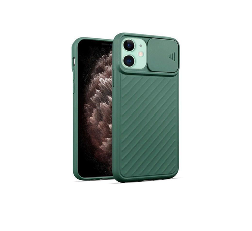 JVS Products iPhone 12 Pro Max Hoesje met Camera Bescherming - Apple iPhone 12 Pro Max Back Cover Case Camera Slide - Donkergroen