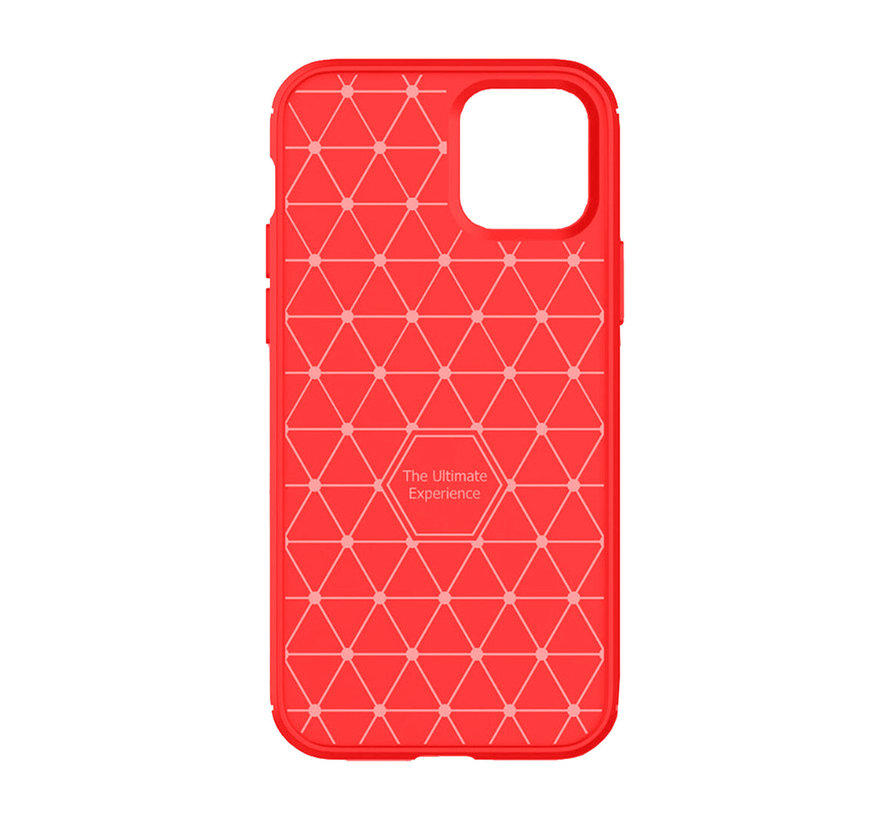 iPhone XS Max Carbon Fiber Look Hoesje - Carbon - Hoesje - Cover - Case - Apple iPhone XS Max - Rood