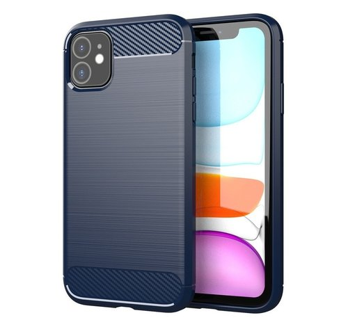 JVS Products iPhone 11 Carbon Fiber Look Hoesje - Apple iPhone 11 Carbon Hoesje Cover Case - Blauw