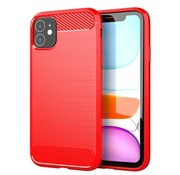 JVS Products iPhone 12 Carbon Fiber Look Hoesje - Carbon - Hoesje - Cover - Case - Apple iPhone 12 - Rood