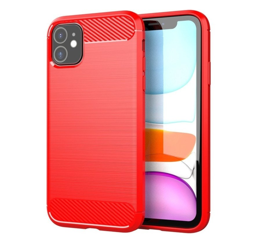 iPhone 12 Carbon Fiber Look Hoesje - Carbon - Hoesje - Cover - Case - Apple iPhone 12 - Rood