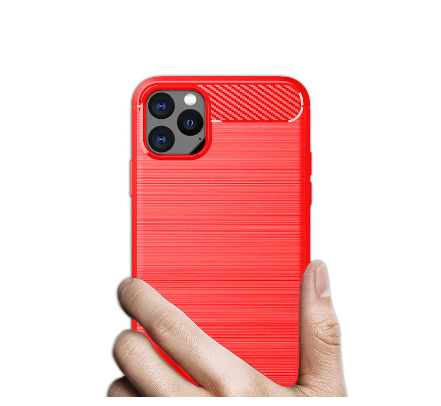 iPhone 12 Carbon Fiber Look Hoesje - Apple iPhone 12 Carbon Hoesje Cover Case - Rood