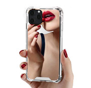 JVS Products iPhone 12 Mini Anti Shock Hoesje met Spiegel Extra Dun - Apple iPhone 12 Mini Hoes Cover Case Mirror - Zilver
