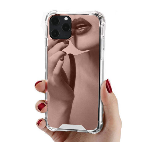 JVS Products iPhone 8 Anti Shock Hoesje met Spiegel Extra Dun - Apple iPhone 8 Hoes Cover Case Mirror - Rose Goud