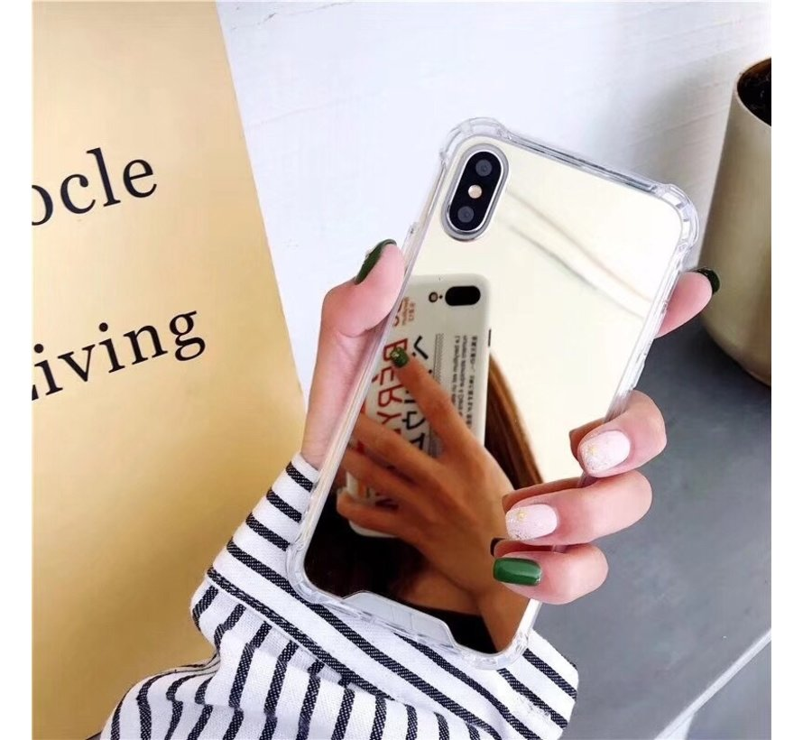 iPhone 11 Pro Max Anti Shock Hoesje met Spiegel - Extra Dun - Hoes - Cover - Case - Mirror - Apple iPhone 11 Pro Max - Goud
