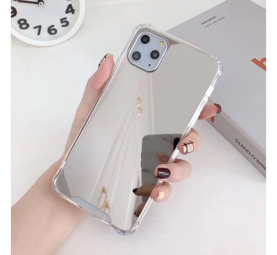 iPhone 12 Pro Max Anti Shock Hoesje met Spiegel Extra Dun - Apple iPhone 12 Pro Max Hoes Cover Case Mirror - Zilver