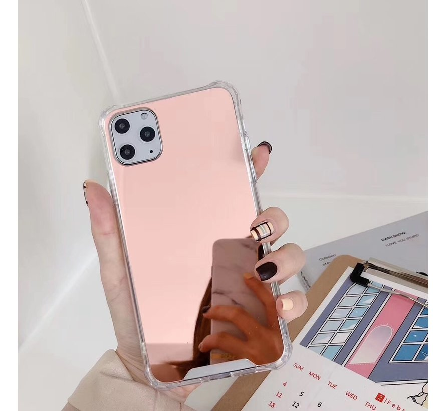 iPhone 12 Pro Max Anti Shock Hoesje met Spiegel - Extra Dun - Hoes - Cover - Case - Mirror - Apple iPhone 12 Pro Max - Rose Goud