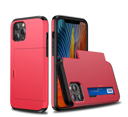 JVS Products iPhone XR Back Cover Hoesje - Pasjeshouder - Shockproof - TPU - Hardcase - Apple iPhone XR - Rood
