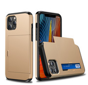 JVS Products iPhone XS MAX Back Cover Hoesje - Pasjeshouder - Shockproof - TPU - Hardcase - Apple iPhone XS MAX - Goud
