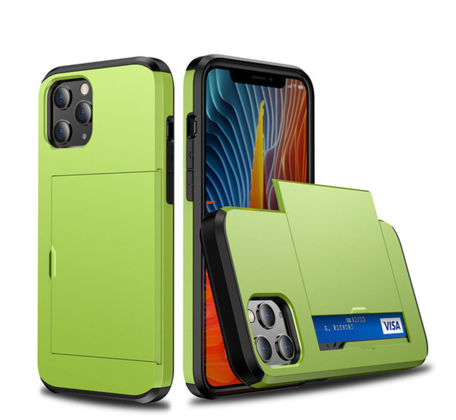 iPhone XS MAX Back Cover Hoesje - Pasjeshouder - Shockproof - TPU - Hardcase - Apple iPhone XS MAX - Lichtgroen
