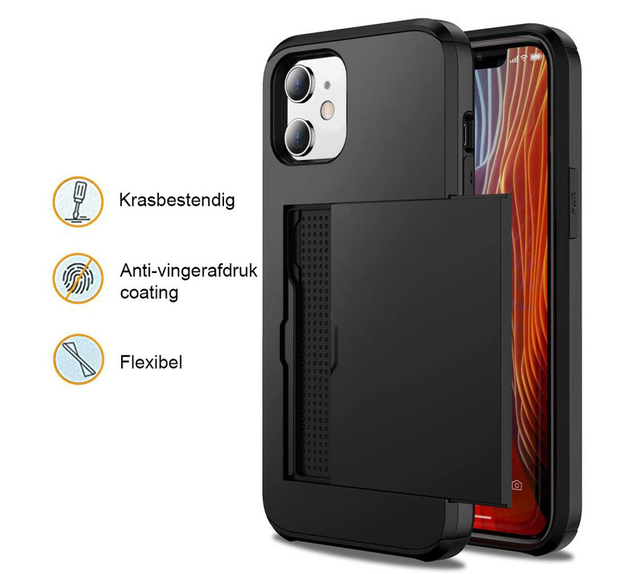 iPhone XS MAX Back Cover Hoesje - Pasjeshouder - Shockproof - TPU - Hardcase - Apple iPhone XS MAX - Zilver