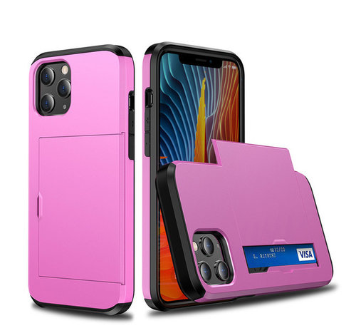JVS Products iPhone 11 Back Cover Hoesje - Pasjeshouder - Shockproof - TPU - Hardcase - Apple iPhone 11 - Roze