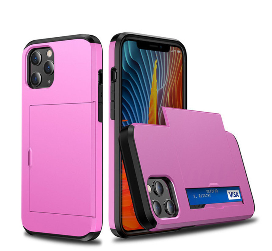 iPhone 11 Back Cover Hoesje - Pasjeshouder - Shockproof - TPU - Hardcase - Apple iPhone 11 - Roze
