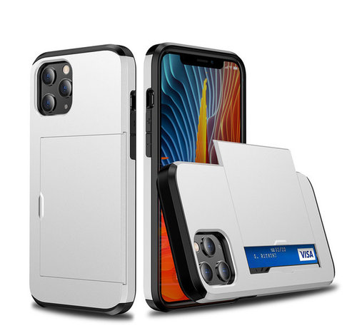 JVS Products iPhone 11 Back Cover Hoesje - Pasjeshouder - Shockproof - TPU - Hardcase - Apple iPhone 11 - Wit