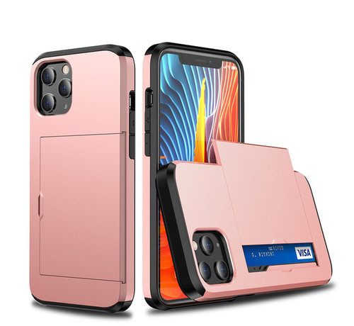 JVS Products iPhone 11 Pro Back Cover Hoesje - Pasjeshouder - Shockproof - TPU - Hardcase - Apple iPhone 11 Pro - Rosegoud