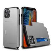 JVS Products iPhone 11 Pro Max Back Cover Hoesje - Pasjeshouder - Shockproof - TPU - Hardcase - Apple iPhone 11 Pro Max - Grijs