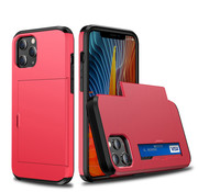 JVS Products iPhone 11 Pro Max Back Cover Hoesje - Pasjeshouder - Shockproof - TPU - Hardcase - Apple iPhone 11 Pro Max - Rood