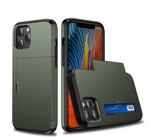 JVS Products iPhone 12 Pro Max Back Cover Hoesje - Pasjeshouder - Shockproof - TPU - Hardcase - Apple iPhone 12 Pro Max - Groen