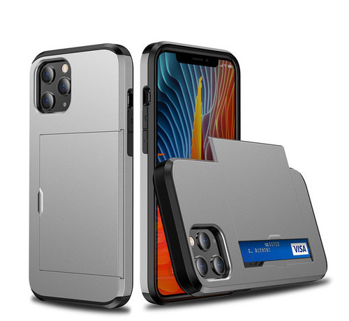 JVS Products iPhone 12 Pro Max Back Cover Hoesje - Pasjeshouder - Shockproof - TPU - Hardcase - Apple iPhone 12 Pro Max - Grijs