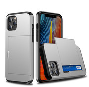 JVS Products iPhone 12 Pro Max Back Cover Hoesje - Pasjeshouder - Shockproof - TPU - Hardcase - Apple iPhone 12 Pro Max - Zilver