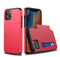 iPhone 12 Mini Back Cover Hoesje - Pasjeshouder - Shockproof - TPU - Hardcase - Apple iPhone 12 Mini - Rood