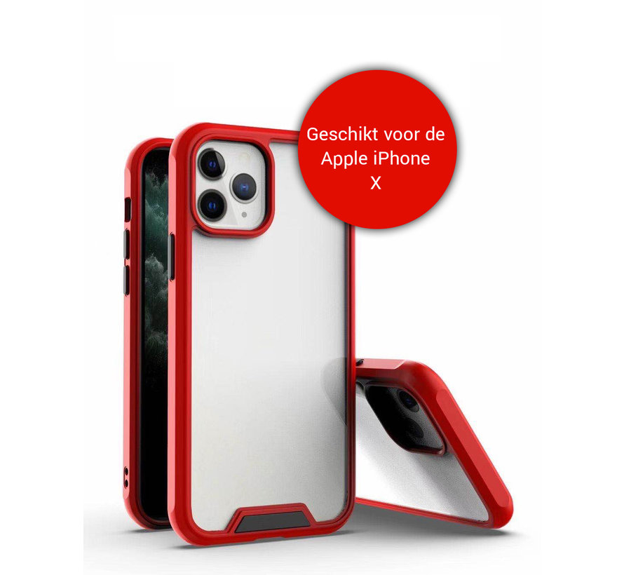 iPhone X / 10 Bumper Case Hoesje - Apple iPhone X / 10 - Transparant / Rood