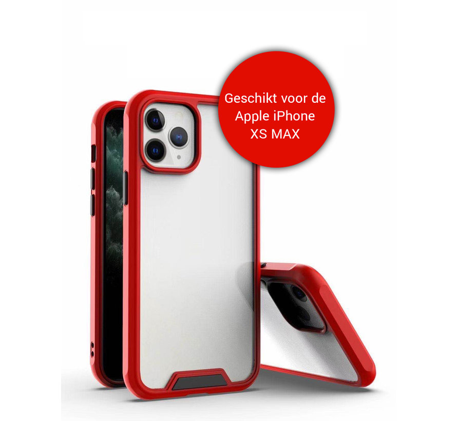 iPhone XS Max Bumper Case Hoesje - Apple iPhone XS Max - Transparant / Rood