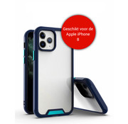 JVS Products iPhone 8 Bumper Case Hoesje - Apple iPhone 8 - Transparant / Blauw
