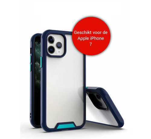 JVS Products iPhone 7 Bumper Case Hoesje - Apple iPhone 7 - Transparant / Blauw