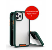 JVS Products iPhone X / 10 Bumper Case Hoesje - Apple iPhone X / 10 - Transparant / Donkergroen