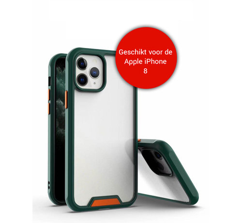JVS Products iPhone 8 Bumper Case Hoesje - Apple iPhone 8 - Transparant / Donkergroen